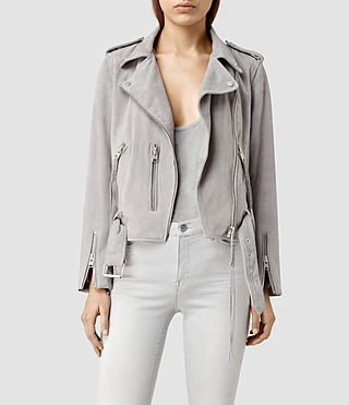Womens Plait Balfern Suede Biker Jacket (Light Grey) - product_image_alt_text_1