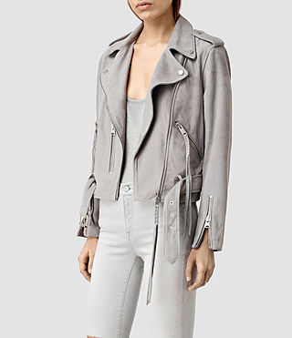 Womens Plait Balfern Suede Biker Jacket (Light Grey) - product_image_alt_text_2