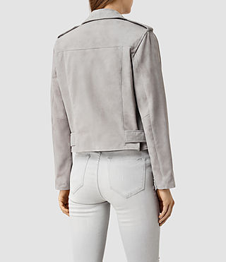 Womens Plait Balfern Suede Biker Jacket (Light Grey) - product_image_alt_text_3