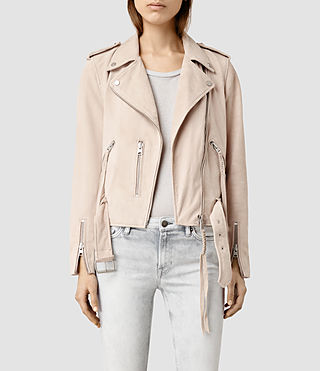 Women's Plait Balfern Biker Jacket (NUDE PINK)