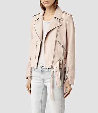 Damen Plait Balfern Biker Jacket (NUDE PINK) - product_image_alt_text_2