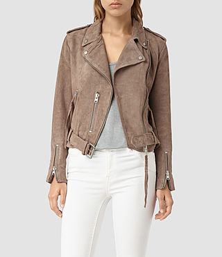 Womens Plait Balfern Leather Biker Jacket (Mushroom)