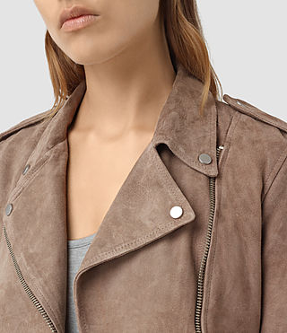 Womens Plait Balfern Leather Biker Jacket (Mushroom) - product_image_alt_text_2