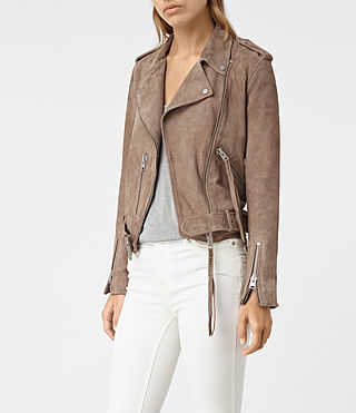 Womens Plait Balfern Leather Biker Jacket (Mushroom) - product_image_alt_text_3