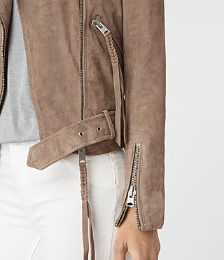 Mujer Plait Balfern Leather Biker Jacket (Mushroom) - product_image_alt_text_4