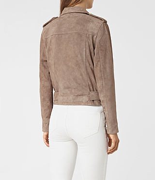Mujer Plait Balfern Leather Biker Jacket (Mushroom) - product_image_alt_text_5