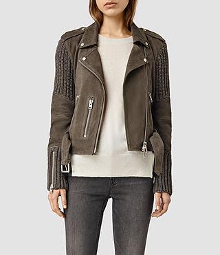 Womens Denell Suede Biker Jacket (Khaki Green)