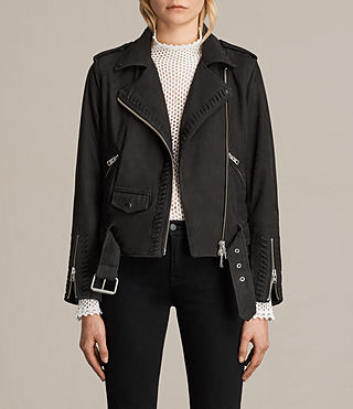 Damen Willow Nubuck Biker Jacket (Black)