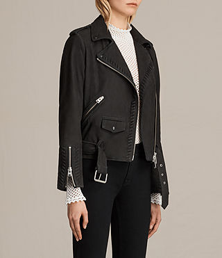 Womens Willow Nubuck Biker Jacket (Black) - product_image_alt_text_3