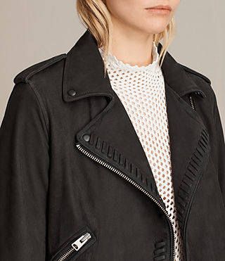 Womens Willow Nubuck Biker Jacket (Black) - product_image_alt_text_4