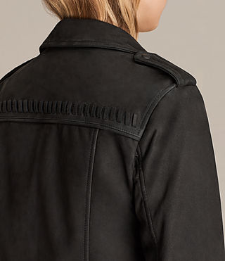 Womens Willow Nubuck Biker Jacket (Black) - product_image_alt_text_6