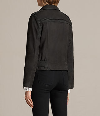 Womens Willow Nubuck Biker Jacket (Black) - product_image_alt_text_8