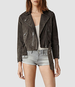 Womens Hind Leather Biker Jacket (Airforce) - product_image_alt_text_1