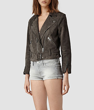Womens Hind Leather Biker Jacket (Airforce) - product_image_alt_text_2