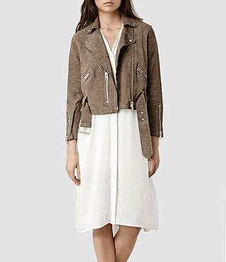 Womens Hind Leather Biker Jacket (PALE)