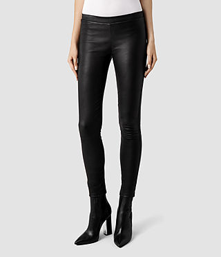 Womens Elm Leather Leggings (Black)