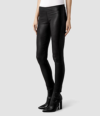 Womens Elm Leather Leggings (Black) - product_image_alt_text_2