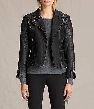 Damen Papin Leather Biker Jacket (Black)