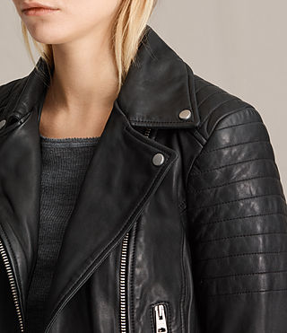 Womens Papin Leather Biker Jacket (Black) - Image 2