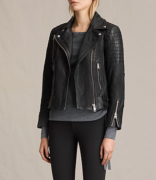 Womens Papin Leather Biker Jacket (Black) - Image 3