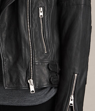 Womens Papin Leather Biker Jacket (Black) - product_image_alt_text_4