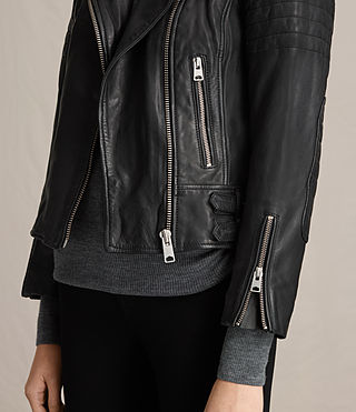 Womens Papin Leather Biker Jacket (Black) - Image 5