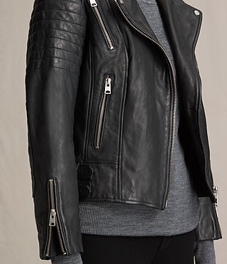 Womens Papin Leather Biker Jacket (Black) - Image 6