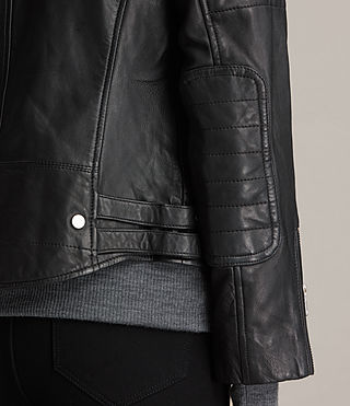 Womens Papin Leather Biker Jacket (Black) - Image 7