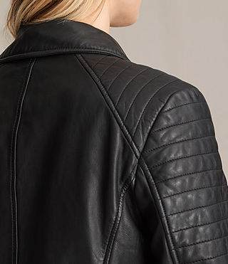 Womens Papin Leather Biker Jacket (Black) - Image 8