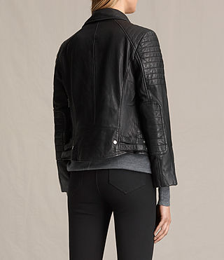 Womens Papin Leather Biker Jacket (Black) - Image 9