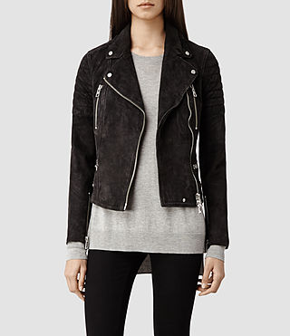 Womens Huxley Leather Biker Jacket (Washed Black)