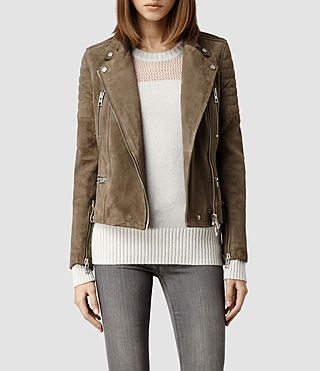 Womens Huxley Leather Biker Jacket (Mortar)
