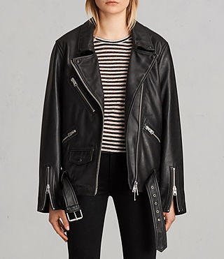 Womens Oversized Leather Biker Jacket (Black) - Image 1