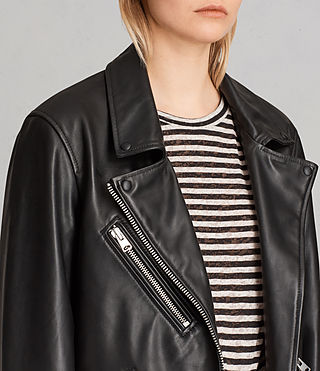Womens Oversized Leather Biker Jacket (Black) - Image 2