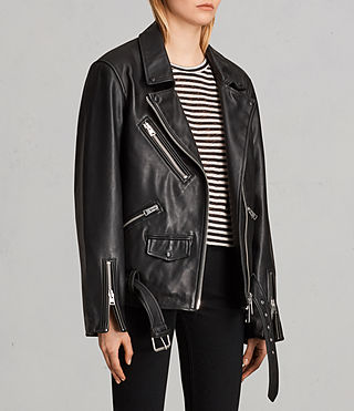 Womens Oversized Leather Biker Jacket (Black) - Image 3