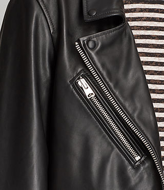 Womens Oversized Leather Biker Jacket (Black) - Image 4