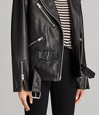 Womens Oversized Leather Biker Jacket (Black) - Image 6