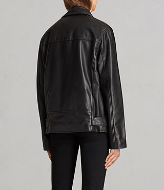 Womens Oversized Leather Biker Jacket (Black) - Image 7