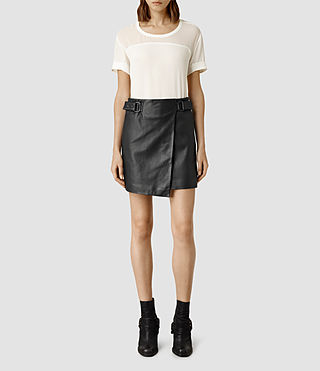 Womens Kenley Leather Mini Skirt (Black)