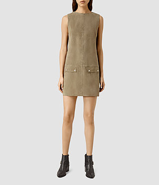 Damen Huckerby Suede Dress (Khaki Brown)
