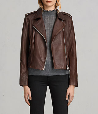 Womens Coniston Leather Biker Jacket (OXBLOOD RED) - product_image_alt_text_1