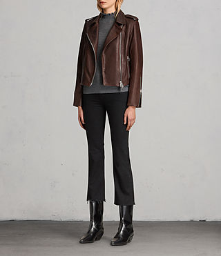 Women's Coniston Leather Biker Jacket (OXBLOOD RED) - product_image_alt_text_2