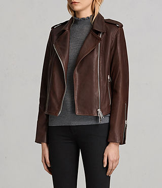 Womens Coniston Leather Biker Jacket (OXBLOOD RED) - Image 4