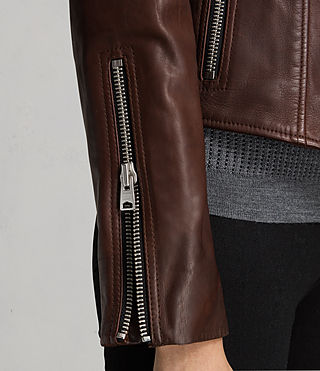 Women's Coniston Leather Biker Jacket (OXBLOOD RED) - product_image_alt_text_6