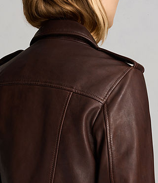 Womens Coniston Leather Biker Jacket (OXBLOOD RED) - Image 7