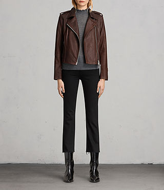 Women's Coniston Leather Biker Jacket (OXBLOOD RED) - product_image_alt_text_8