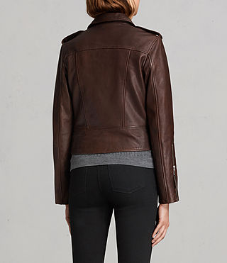 Womens Coniston Leather Biker Jacket (OXBLOOD RED) - Image 9
