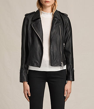 Damen Coniston Leather Biker Jacket (Black)