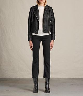 Womens Coniston Leather Biker Jacket (Black) - product_image_alt_text_2