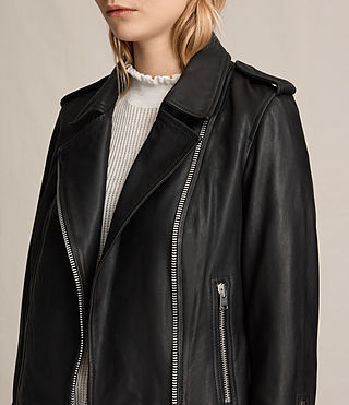 Womens Coniston Leather Biker Jacket (Black) - product_image_alt_text_3